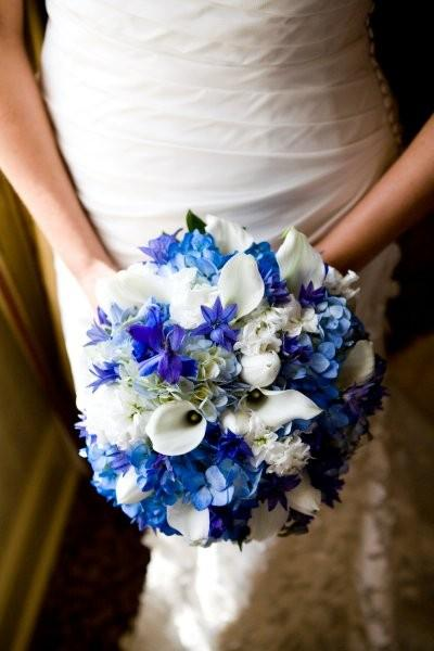 Something Blue Wedding Ideas - Bridal Bouquet Blue Hydrangea and White Mini Calla Bouquet
