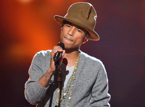 """Pharrell with hat creased """"fore and aft"""" (eonline.com)"""