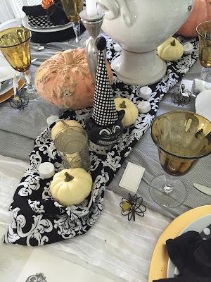 Black Thanksgiving tablescape, black and white polka dot plates
