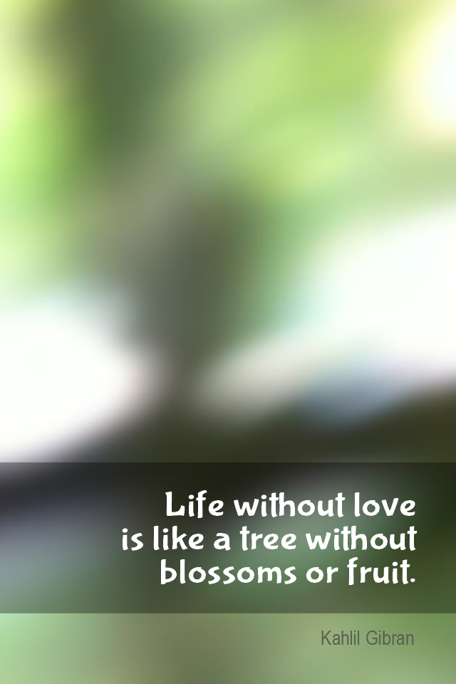 visual quote - image quotation for LOVE - Life without love is like a tree without blossoms or fruit. - Kahlil Gibran