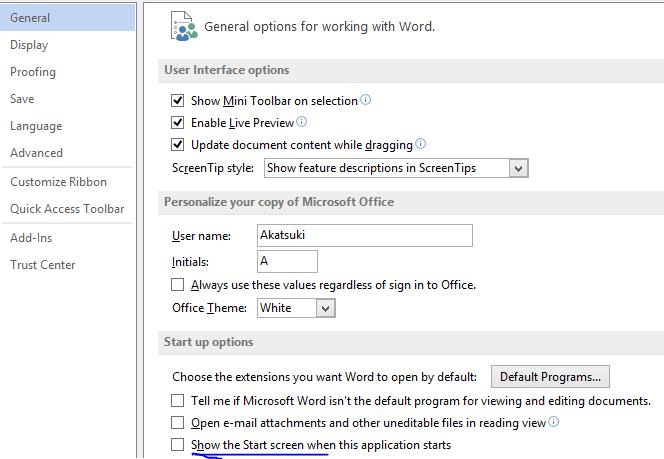 Tắt Start Screen chọn template cho office 2013