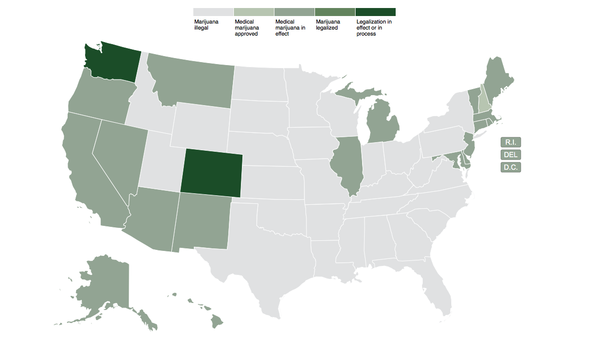 State Marijuana Legalization Approaching Critical Mass - legalization map