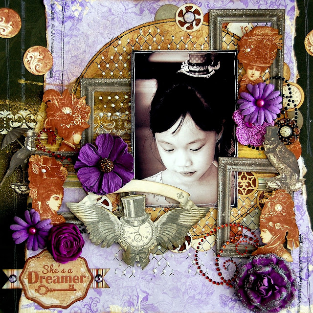 She's A Dreamer Layout by Irene Tan using BoBunny Penny Emporium Collection