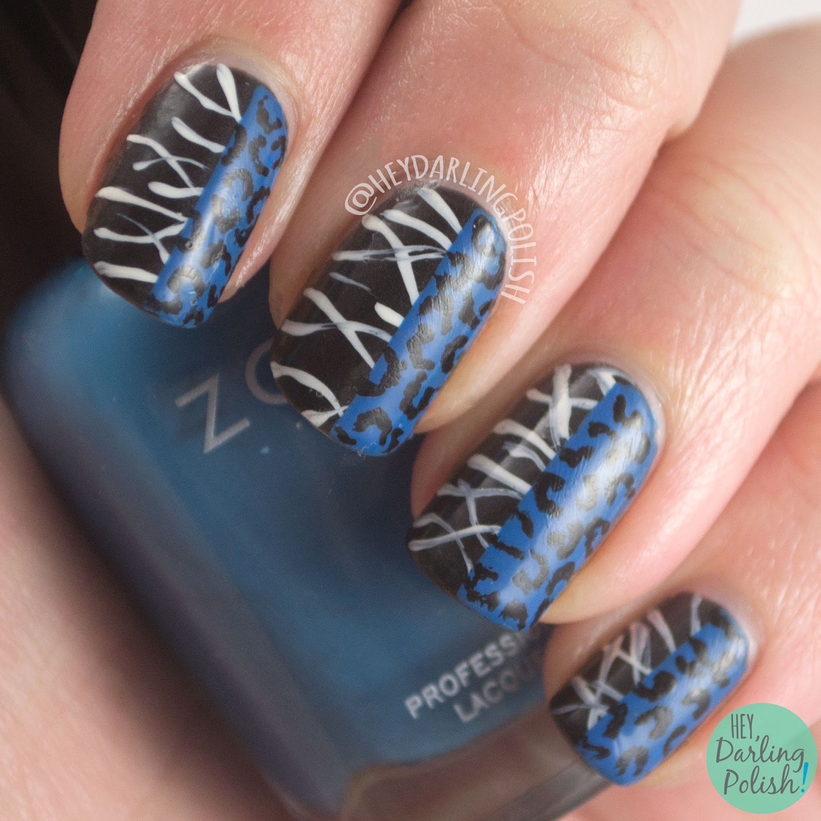 nails, nail art, nail polish, black, blue, fashion, saint laurent, lines, hey darling polish
