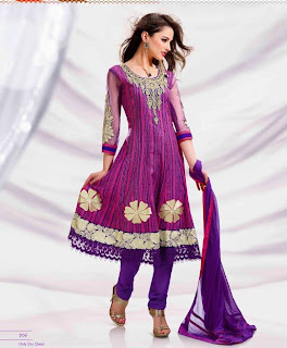 purple anarkali frock