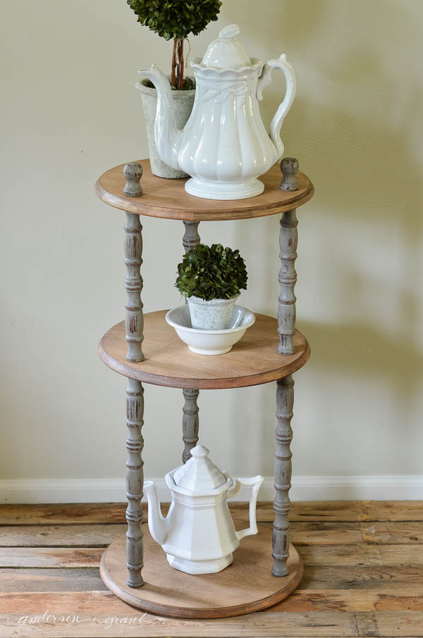 Check out this lovely transformation of an out of the box shelf into a rustic farmhouse table.  |  www.andersonandgrant.com