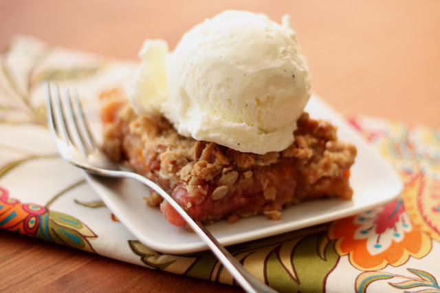 Apricot Rhubarb Strawberry Almond Crunch recipe by Barefeet In The Kitchen