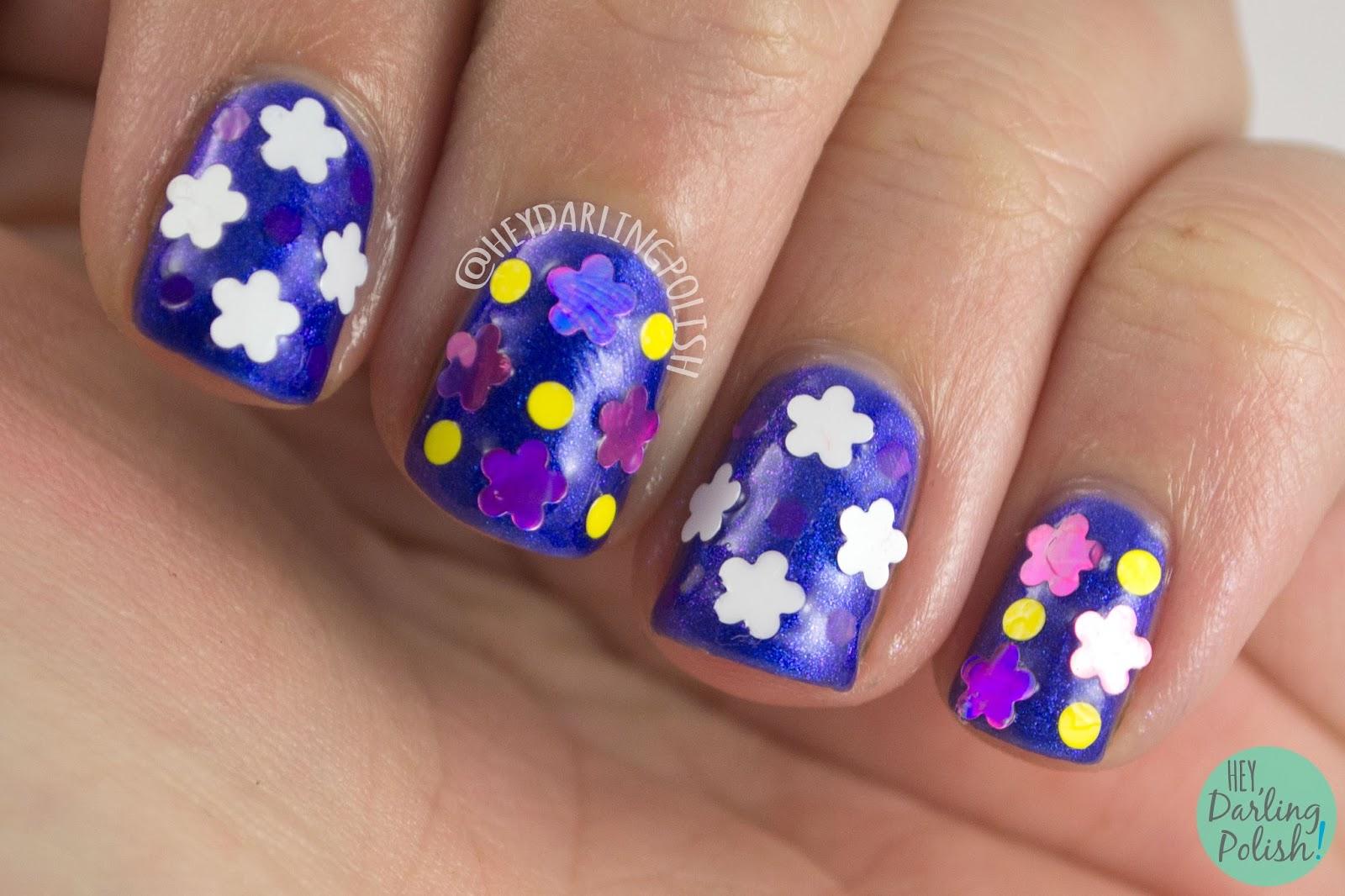 nails, nail polish, indie polish, indie, kitty polish, hey darling polish, blue, purple, amaze balls, nail art, flowers, glitter