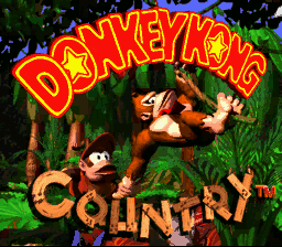 The title screen for the Super Nintendo game Donkey Kong Country.