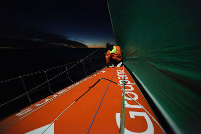 Martin Krite drops the code zero at sun rise, onboard Groupama Sailing Team during leg 5 (Credit: Yann Riou/Groupama Sailing Team/Volvo Ocean Race)