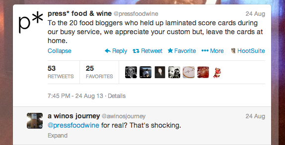 Press* Food & Wine - Twitter rant