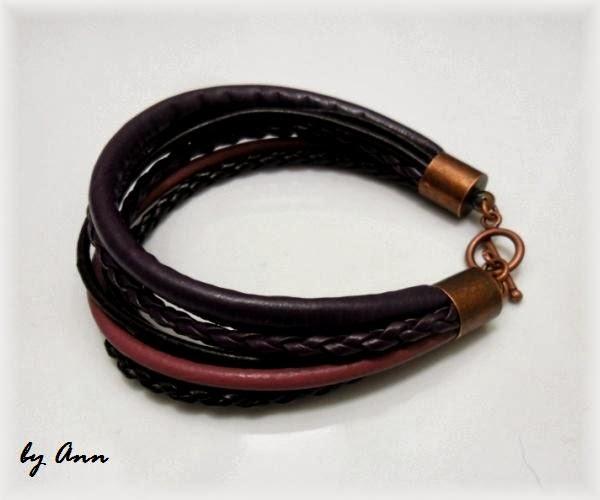 bransoletka jasny ciemny fiolet rzemień pleciony szyty miedziane zakończenia
