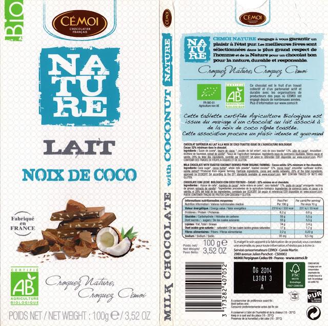 tablette de chocolat lait gourmand cémoi nature lait noix de coco