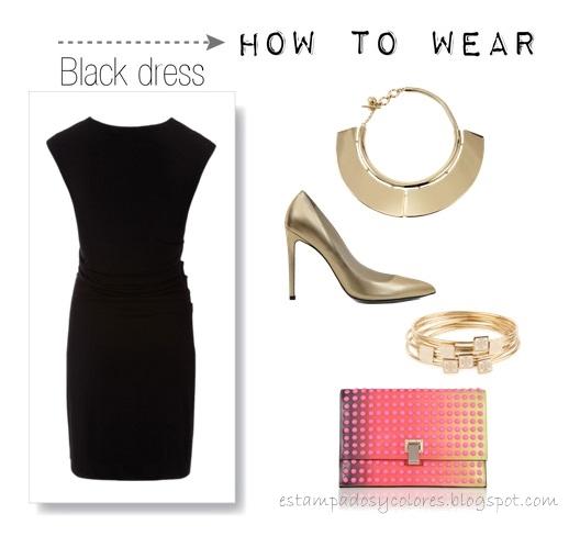 Accesorios para vestido sencillo negro