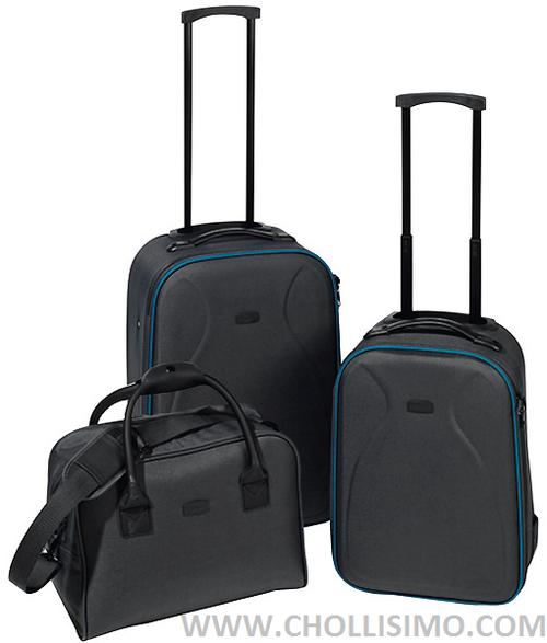 MOODS set 2 trolleys en color gris y azul + bolso, maletas baratas, comprar maletas baratas, set de maletas baratas