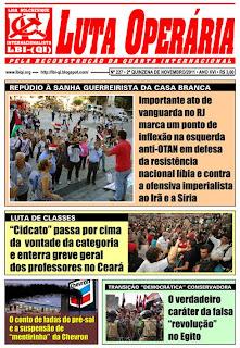 LEIA A EDIÇÃO DO JORNAL LUTA OPERÁRIA, Nº 227, SEGUNDA QUINZENA DE NOVEMBRO/2011