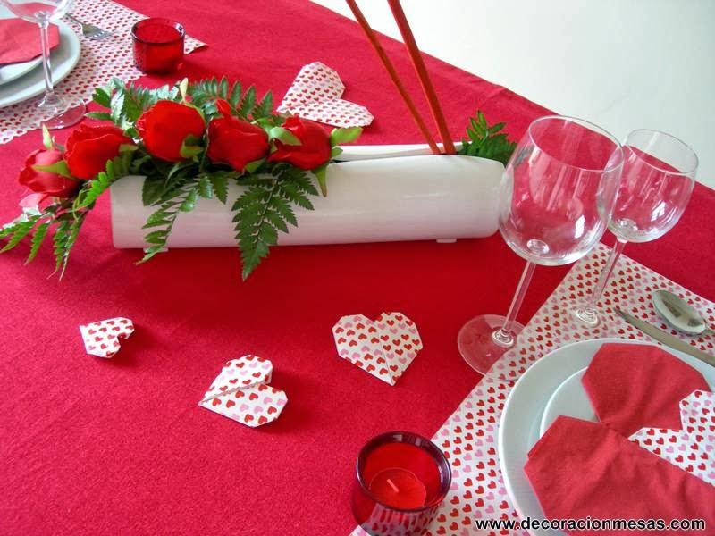 decoracion mesa San Valentin centro mesa