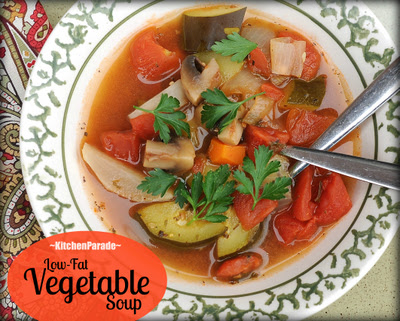 Low Fat Vegetable Soup, all-vegetable soup, packed with flavor but made without added fat. Similar to the famous Weight Watchers Zero-Point Soup (Old Points). | Weight Watchers PointsPlus 2 | KitchenParade.com