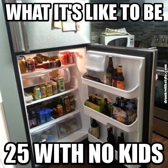 What It's Like To Be 25 With No Kids Funny Beer Fridge
