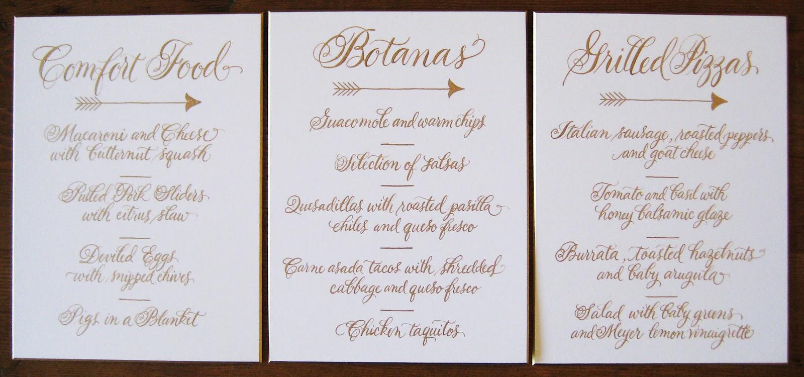 A to z calligraphy wedding menus