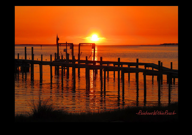 sunset over the Gulf, orange sky sunset, pier sunset