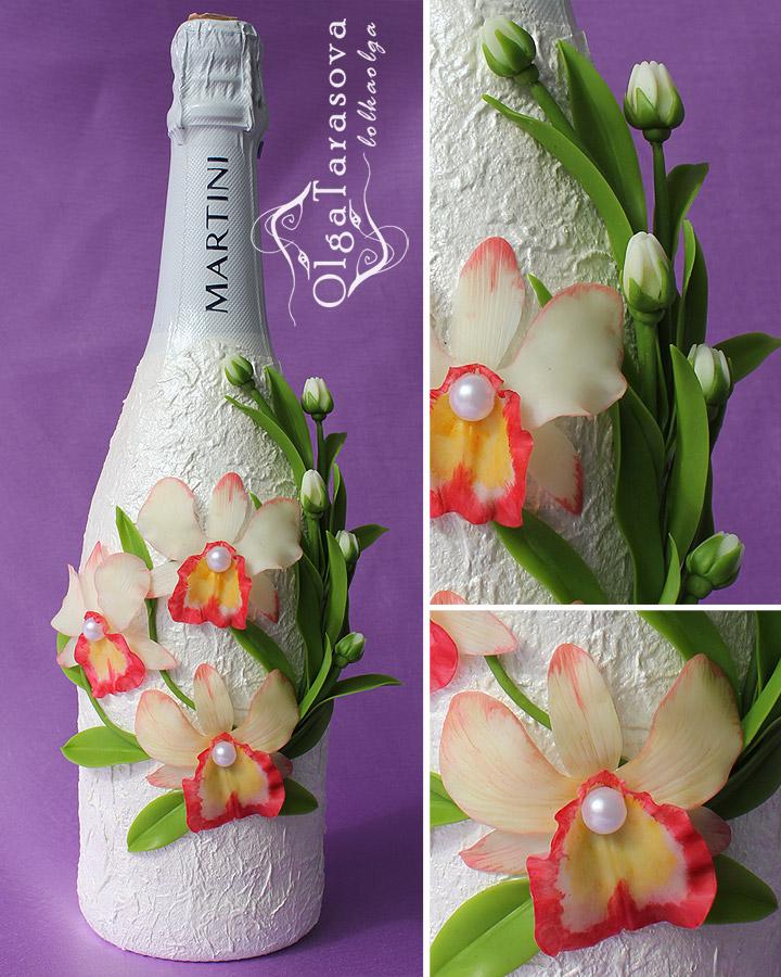 Декор бутылок цветами из лент