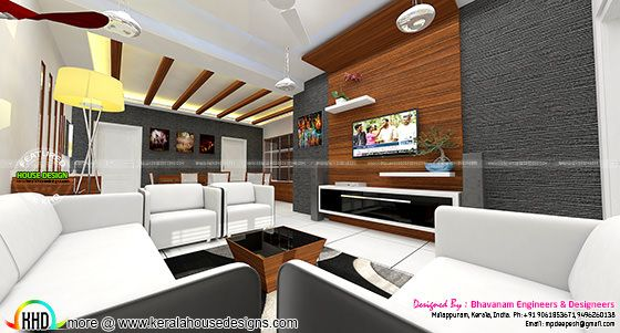 Living room interior decors ideas kerala home design and for M s living room accessories