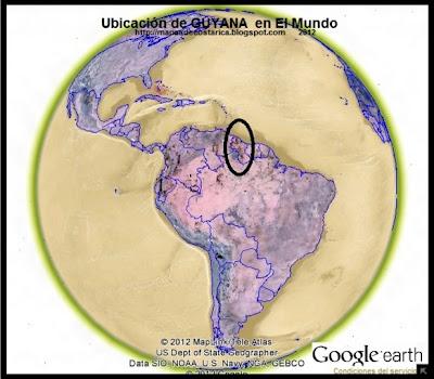 Ubicación de GUYANA en El Mundo , Google Earth