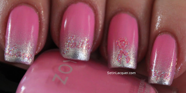 Go Pink nail art using Zoya Shelby, Trixie and decals.