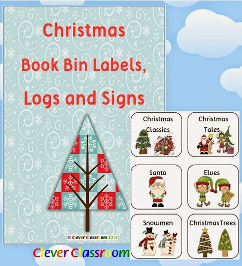Christmas Book Bin Labels, Logs and Posters Classroom Library