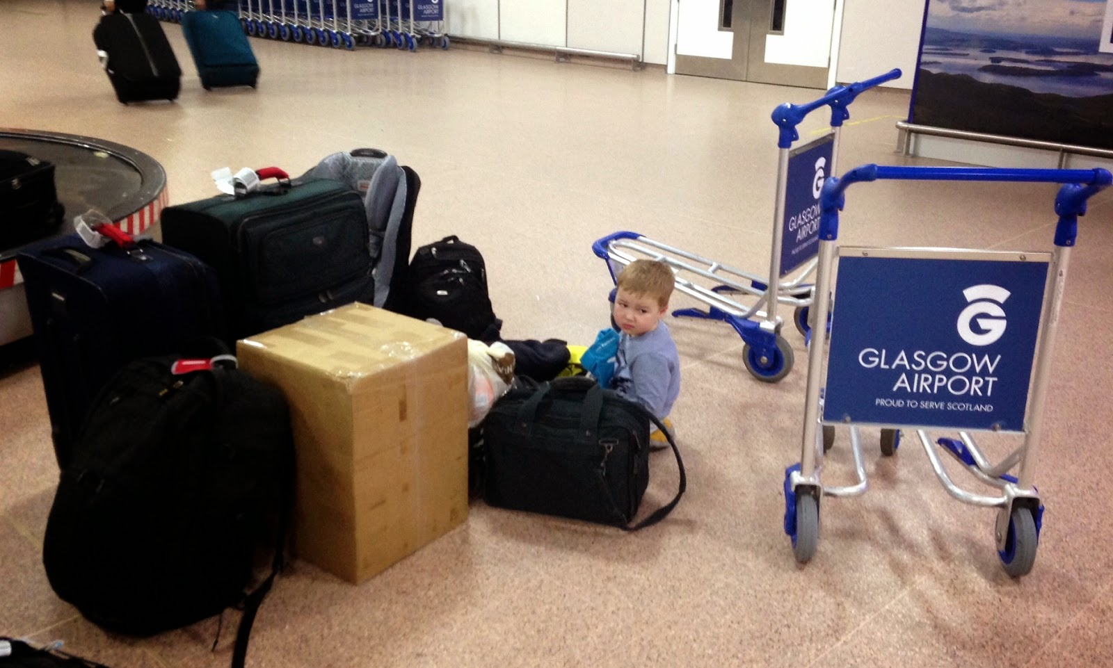 Lots of luggage at the airport