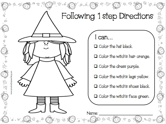 Halloween Following Directions PrintNGo Packet – Following Directions Worksheet