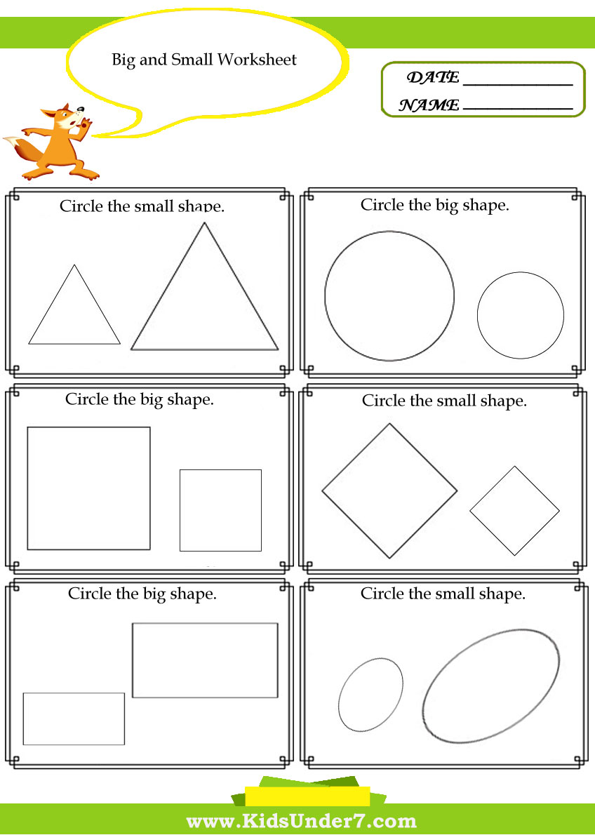 Worksheets Big And Little Worksheets kids under 7 big and small worksheet worksheet