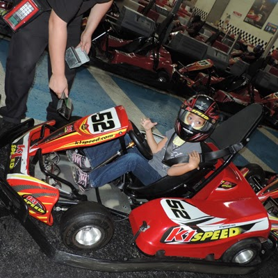 Sofia's K1 Speed Kart gets foot extender.