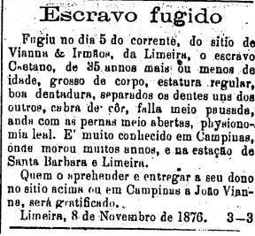 Anúncio classificado de Escravo Fugido em 1976. Anúncio veiculado no jornal 'O Estado de São Paulo'.