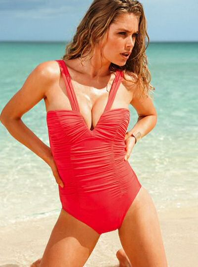 Red Victoria Secret magicsuit swimwear with adjustable straps, foam padding, fully lined and full bottom coverage using spandex.