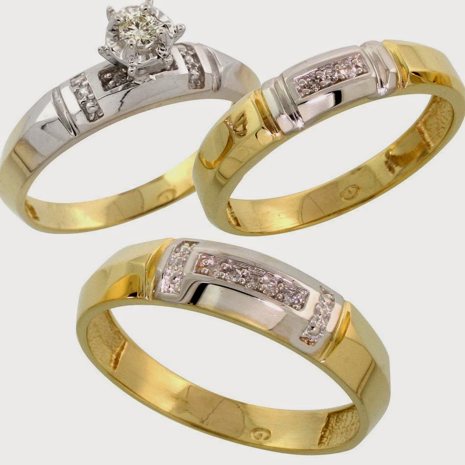 Gold & Silver Trio Engagement Rings Sets with Stone Diamond Model pictures hd