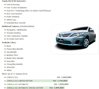 2013-2014 Limited Edition Gli & Gli Automatic Price Toyota Avanza