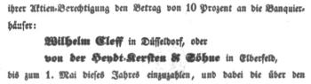 Aufruf der DEEG an die Aktionäre zum zweiten Aktien-Beitrag von 1838