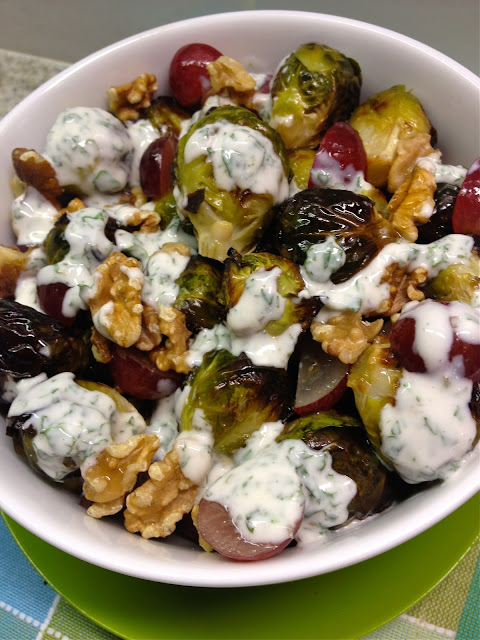 Amazing ilili Brussels Sprouts with Mint Yogurt, Grapes, Walnuts, and ...