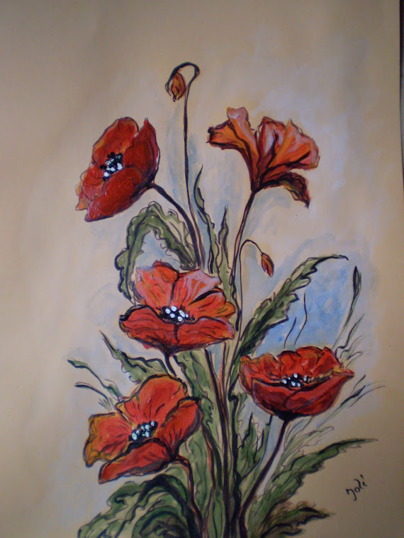 Poppies PA5, acrylic, signed Joli, size A4