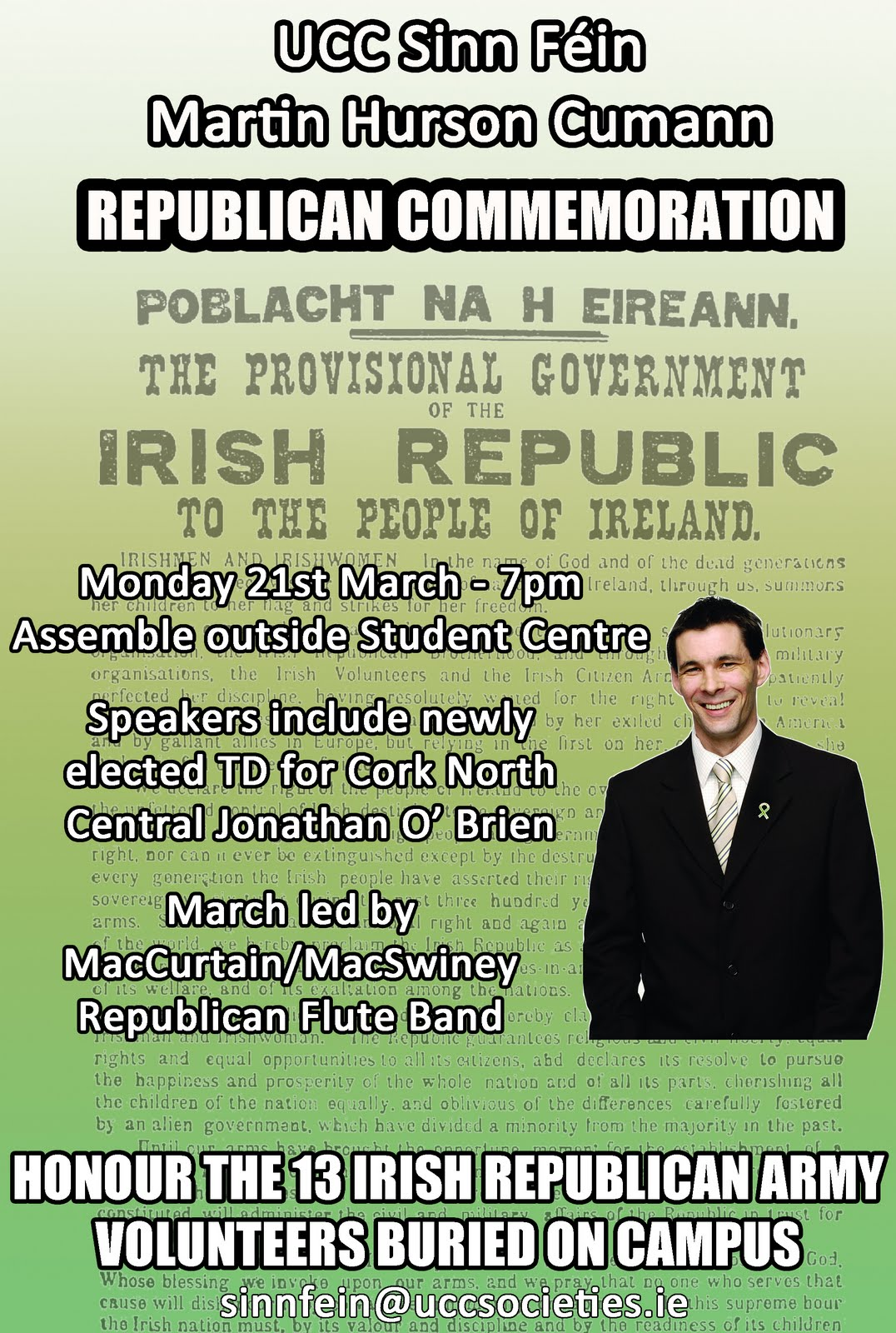Commemoration ... main Speaker is newly elected Cork North Central TD, Jonathan O'Brien.