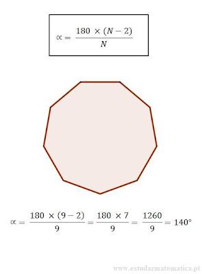 calcular os ângulos internos de um polígono regular