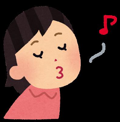 口笛を吹く人のイラスト(女性)