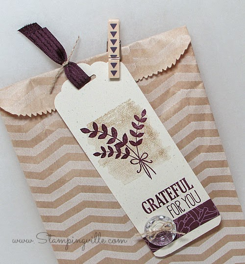 Grateful for You gift bag & hand-stamped tag | by Stampingville #StampinUp