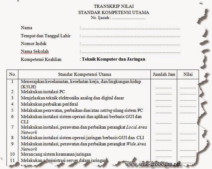 Format Transkrip Nilai SMK 2014