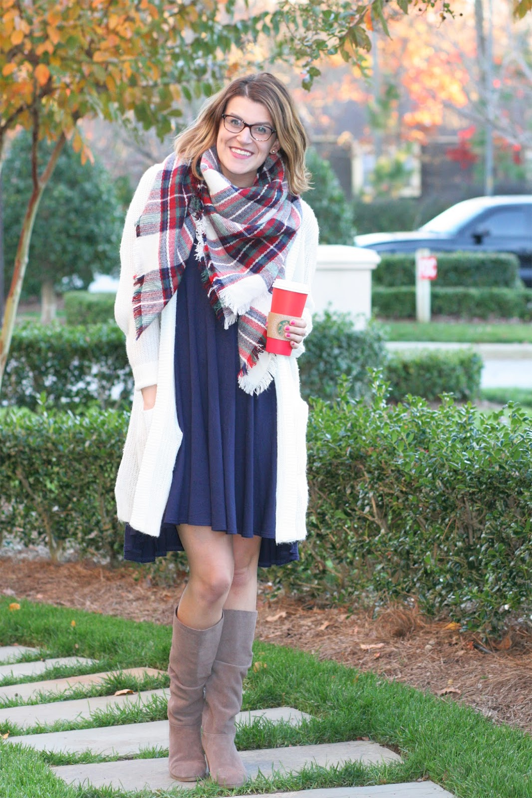 classic-plaid-blanket-scarf-layered-with-cardigan