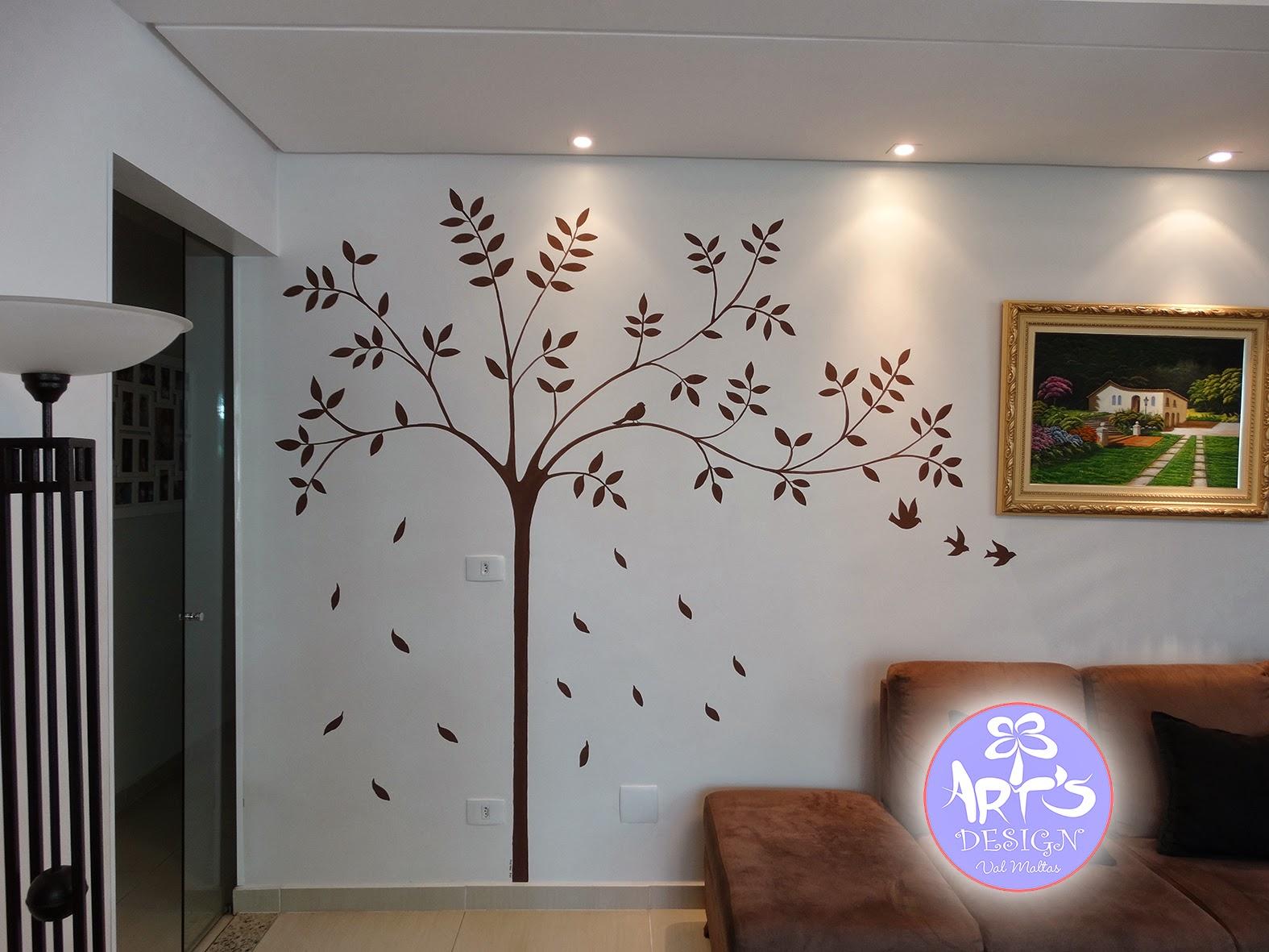 Pintura art stica em parede rvore e p ssaros - Pintura de pared ...
