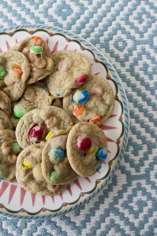 Loaded Peanut Butter and M&M Cookies || sosweetlikesarah.com