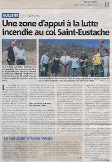 Prévention incendie Col St Eustache